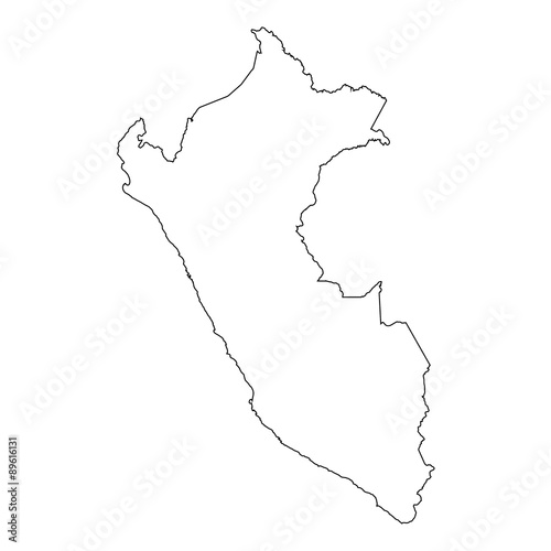 High detailed Outline of the country of  Peru Wallpaper Mural