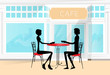 Couple Sitting Cafe Table Drink Coffee Romantic Love Silhouettes