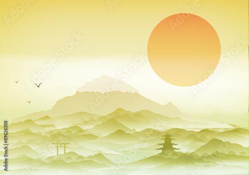 Fotobehang Zwavel geel Japanese Landscape Background with Mountains - Vector Illustration