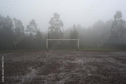 Muddy soccer field Canvas Print