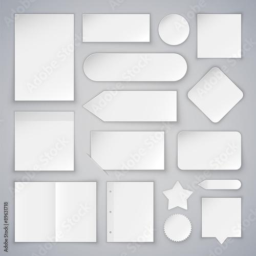 Fototapeta Set of White Paper Sheets Mock Ups and Banners obraz na płótnie