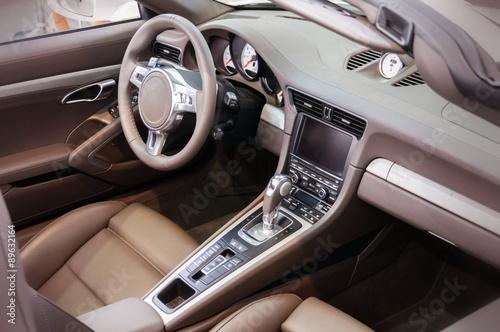 Dark Luxury Car Interior Steering Wheel Shift Lever And Dashb