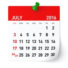 July 2016 - Calendar.