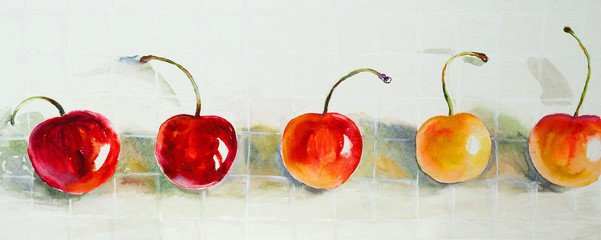 Drawing a water color on paper, fruit, cherries