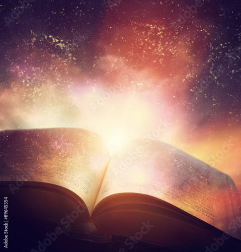 Open old book merged with magic galaxy sky, stars Poster