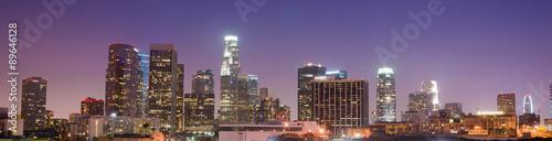 Plakat Kalifornii w centrum miasta los angeles skyline słońca
