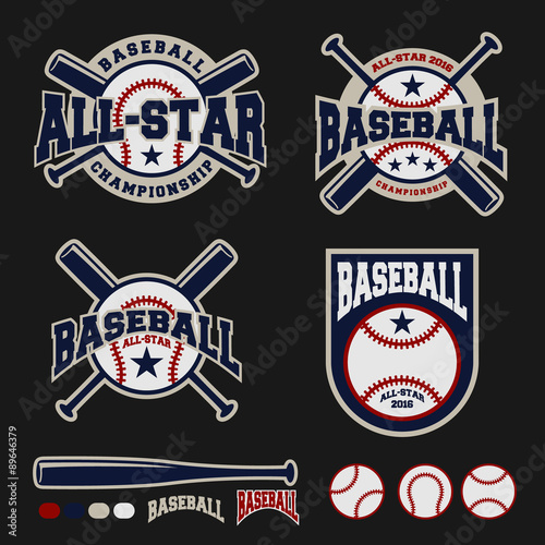 Set Of Baseball Sport Logo Label For Clothing Design And Template Vector Illustration