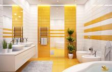 Orange Bathroom In A Modern St...