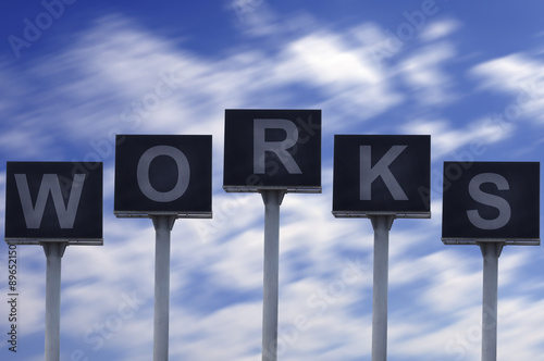 Fotografie, Obraz  Group of LED billboard with business wording concept, WORKS
