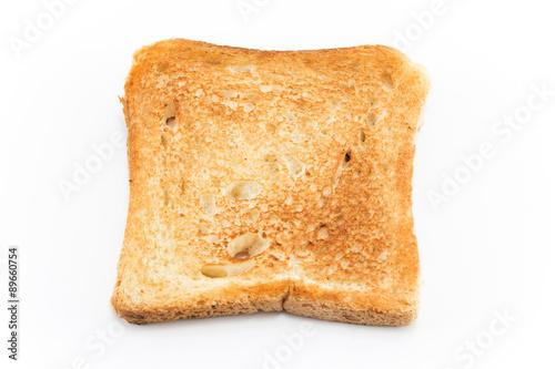 Fotografía  Al horno pan tostado aislado en blanco