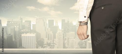 Fototapeta Businessman with city view