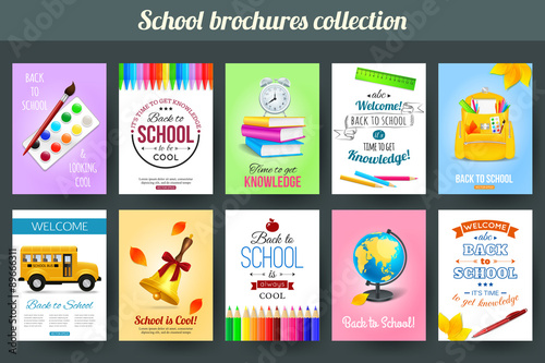 Valokuva  Set of back to school and education typographical card templates