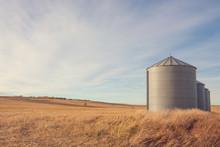 Autumn Landscape Of Grain Silo...