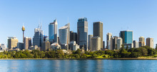 Sydney City Panoramic View. Australia, July. Skyscrapers Reflected In The Water