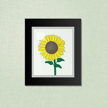 Sunflower Picture On A Black Frame EPS10
