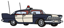 Classic Police Car / Hand Drawing, Vector Illustration