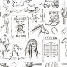 Wild West Hand Drawn Seamless Pattern