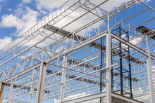 Steel Structure With Sky Background / Steel Structure / Steel Structure Under Construction With Blue Sky Background