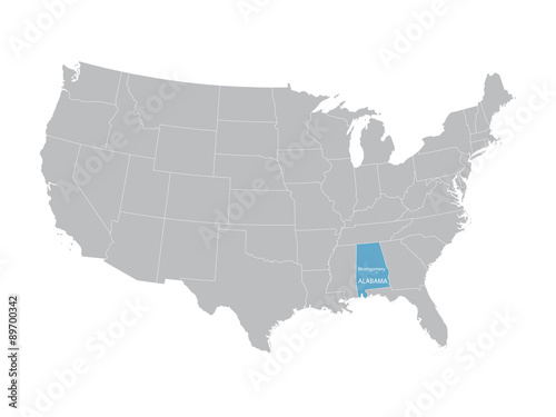 vector map of United States with indication of Alabama – kaufen Sie ...