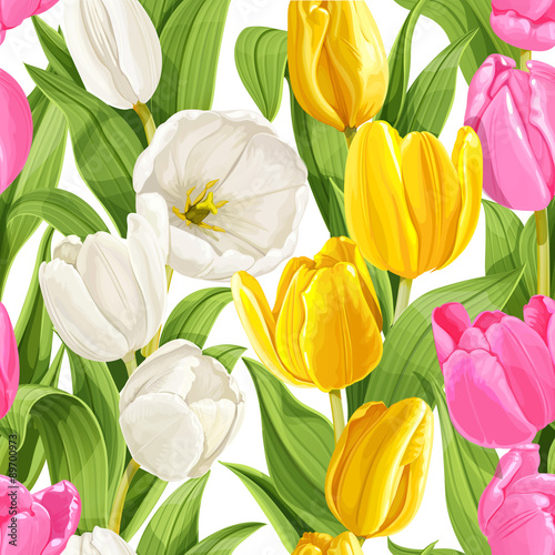 Seamless pattern of color tulips - 89700973