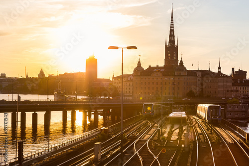 Photo  Railway tracks and trains in Stockholm, Sweden.