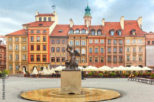 Fototapeta Mermaid of Warsaw at the Market Square, Poland. obraz