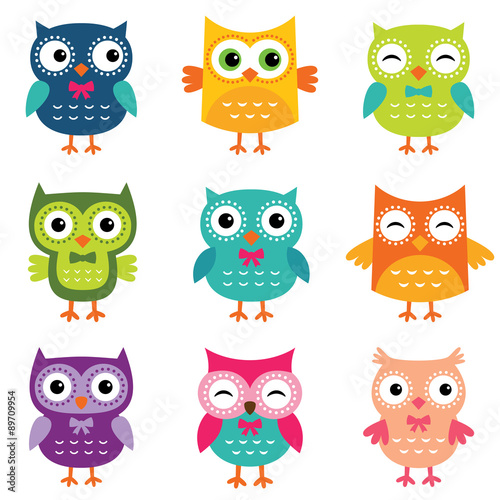 plakat Isolated cartoon owls collection