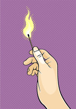 Hand Holding A Burning Match