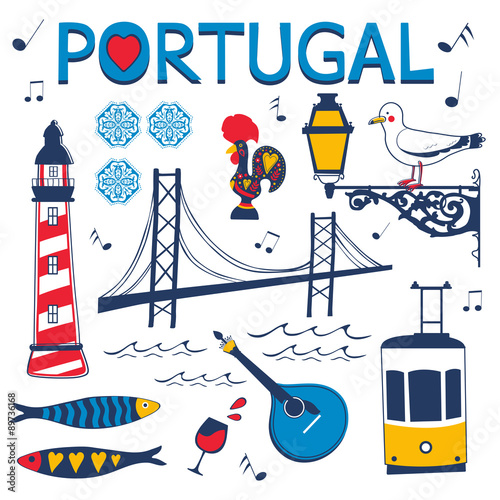 Foto  Stylish collection of typical Portuguese icons