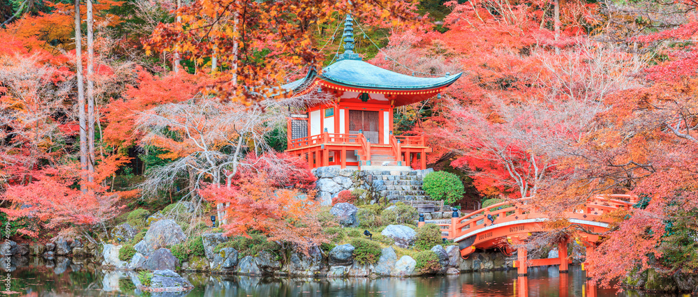 Fototapeta The leave change color of red in Temple japan.