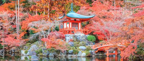 The leave change color of red in Temple japan. - 89740919
