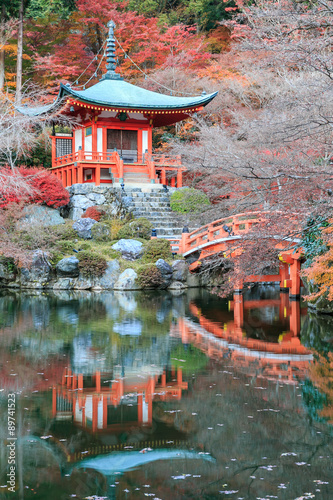 The leave change color of red in Temple japan. #89741523