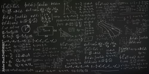 Fotografie, Obraz  Handwritten formulas and equations on black background