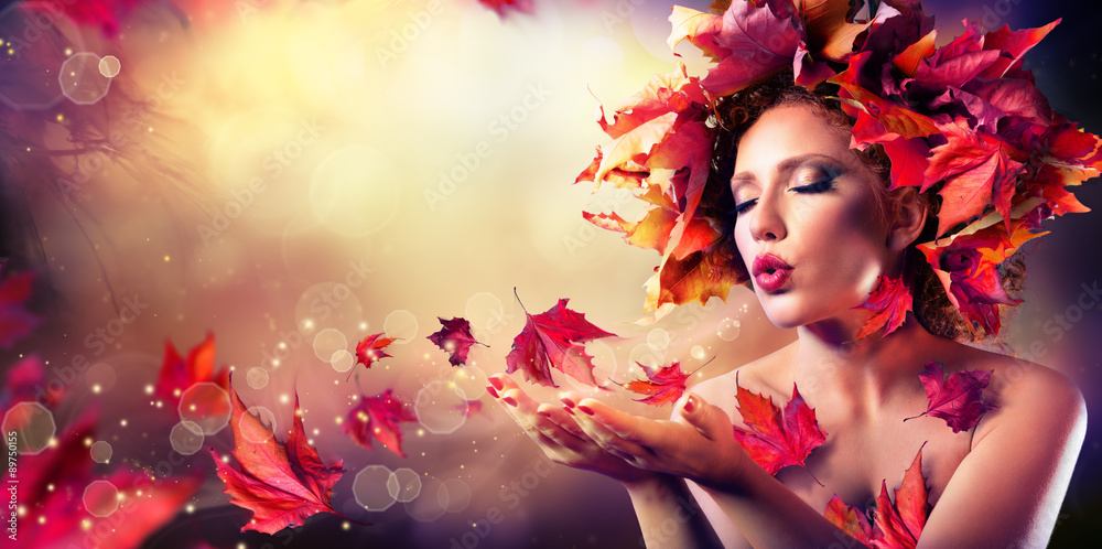 Fototapety, obrazy: Autumn woman blowing red leaves - Beauty Fashion Model Girl