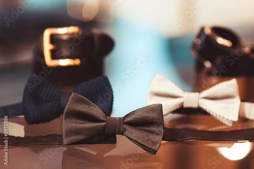 Obraz na płótnie Menswear set. Belt, bow tie