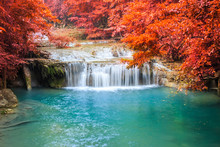 Waterfall In Deep Rain Forest.