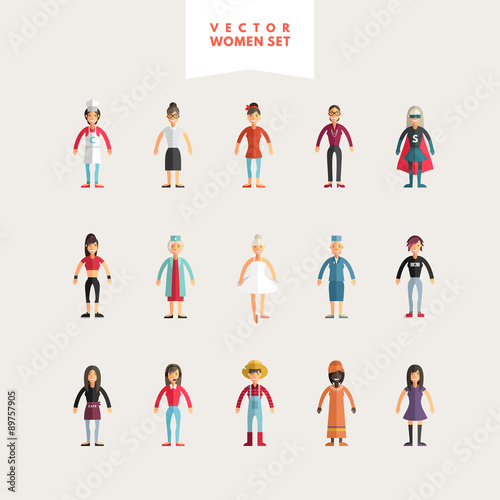 Photo  Set of Flat Design Professional People Characters