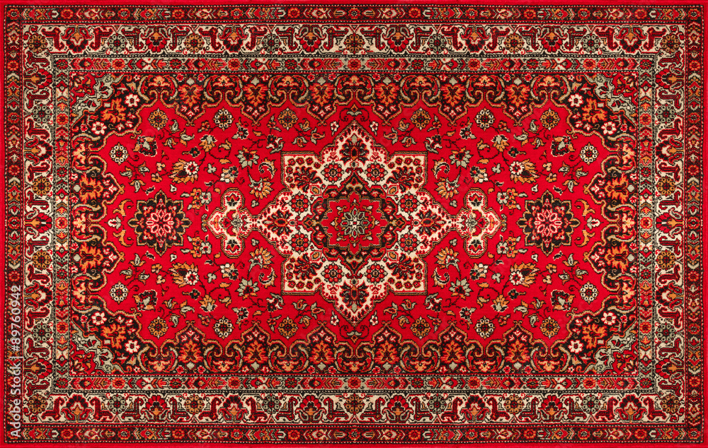 Fototapety, obrazy: Old Persian carpet with pattern. top view