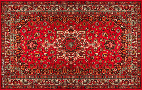 Old Persian carpet with pattern. top view Canvas Print