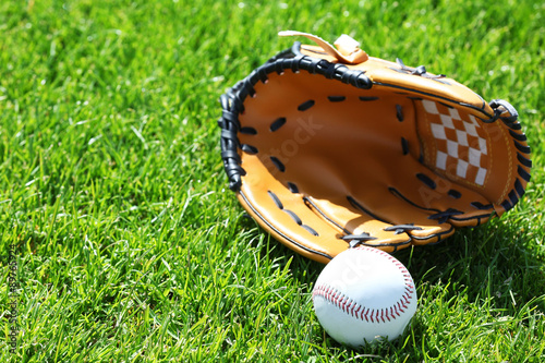 Baseball ball and glove on green field Poster