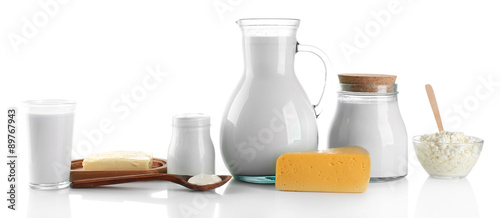 Fotobehang Zuivelproducten Dairy products isolated on white