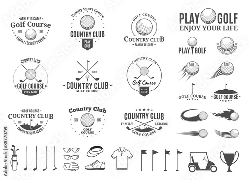 Fototapeta Golf country club logo, labels, icons and design elements