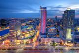 Fototapeta Miasto - Warszawa wieczorna panorama miasta