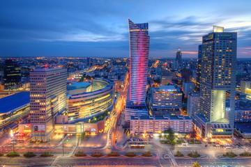 Panel Szklany Wieżowce Warszawa wieczorna panorama miasta