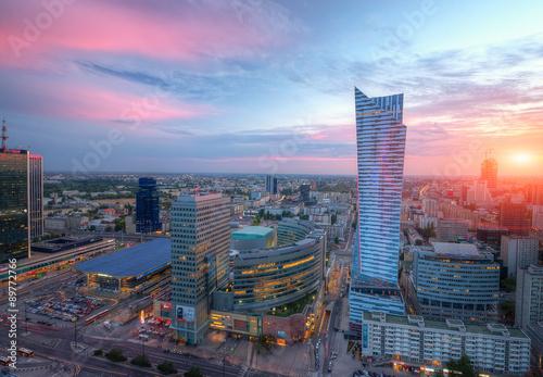 Fototapety, obrazy: Panorama Warszawy o zachodzie słońca