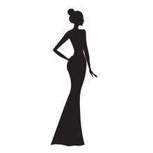 Fashion Model. Silhouette Of Beautiful Woman Vector Illustration.