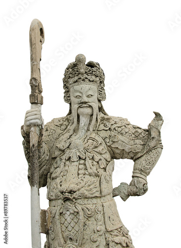 Foto op Plexiglas Xian ancient chinese stone sculpture on white background