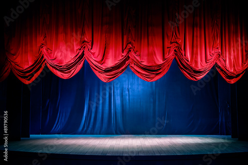 Poster Theater Theater curtain with dramatic lighting