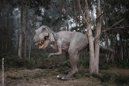 Naklejka premium T. Rex (T-Rex) im Nebel