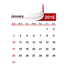 Vector Simple Calendar 2016 Ye...